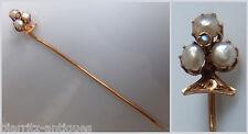 Epingle de cravate en OR au trèfle en demi perles - Dans son écrin - Pds 1,2 gr
