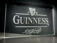 More details for guinness white - led light strip neon bar sign home decor pub mancave gift uk