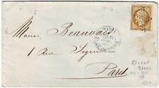 10 C EMPIRE N° 21 obl ETOILE cachet BLEU PARIS place de la Bourse 1865 , lettre