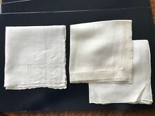 3 hankies handkerchiefs white Hand appliquéd drawn worked / lace linen cotton