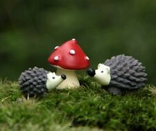 2 Hedgehogs and Toadstool For Fairy Garden/Dollhouse/Bonsai/Terrarium Craft UK