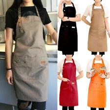 Men Women Canvas Cooking Kitchen Restaurant Chef Bib Apron Dress with Pocket US