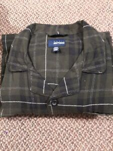 Joe Boxer mens large green and black plaid flannel pajamas NWT