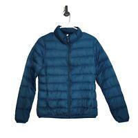 Muji Blue Puffer Jacket Down Filled Full Zip Teal Long Sleeve Womens Sz Small S