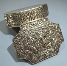 Burmese/Thai Sterling Silver Repousse Hand Chased Hinged Box 20th Century
