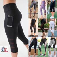 Womens Capri 3/4 Leggings Active Wear Yoga Fitness Cropped Short Pants Run Gym W
