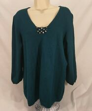 Women's Lane Bryant Blue Sweater With Rhinestones  Size 14/16 Sequins