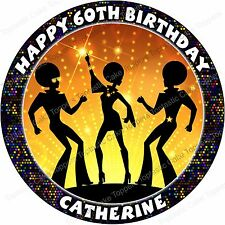 Personalised Disco 60s 70s 80s 90s Party Edible Icing Birthday Cake Topper