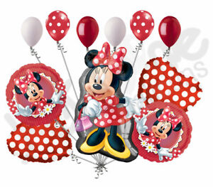 11 pc Mad About Minnie Happy Birthday Balloon Bouquet Party Decoration Red Dots