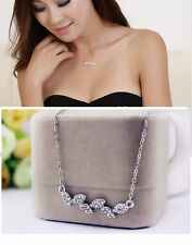 Super Fashion Leaves Silver/Gold/Rose Gold/Cubic Zirconia Pendant Necklace