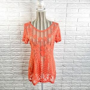 Maurices Sheer Coral Lace Top Size Large
