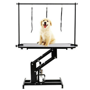 Heavy Duty Grooming Table Hydraulic / Foldable In Black With Arm&Noose Max.100KG