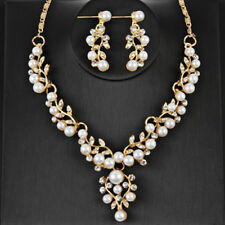 Fashion Bridal Pearls Silver Plated Necklace Earrings Sets Wedding Jewelry Gifts