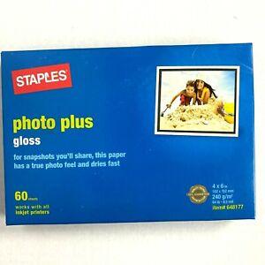 Staples Photo Plus Gloss Inkjet Photo Paper 60 sheets 4x6 # 648177