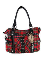 Banned Apparel Red Tartan Plaid Punk Purse with Handcuff Skull Charm