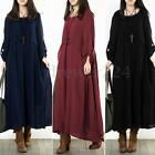 ZANZEA Women Long Sleeve Cotton Vintage Kaftan Casual Loose Long Maxi Dress
