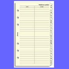 Filofax Personal Cotton Cream A-Z Slimline Index Divider Insert Refill 131689