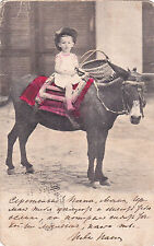 RARE types little boy on donkey Russian old antique postcard