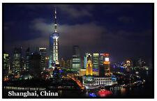 SHANGHAI AT NIGHT - SOUVENIR NOVELTY FRIDGE MAGNET - SIGHTS / FLAG / NEW / GIFTS