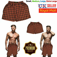 Men Checked Woven Cotton Loose Fit Boxer Shorts Briefs Adults Underwear S/M/L/XL