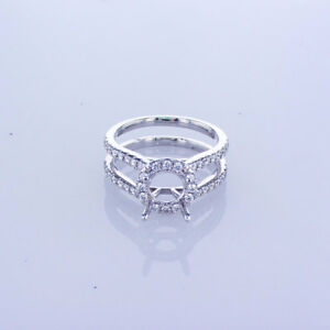 0.54CT Double Shank Round Halo Diamond Ring Setting In 18KT White Gold