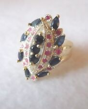 Burmese Blue Sapphire, Ruby Gold & White Plated Handmade Ring 7 Never worn