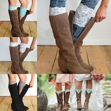 New Stretch Lace Boot Cuffs Flower Leg Warmers Lace Trim Toppers Socks Colors