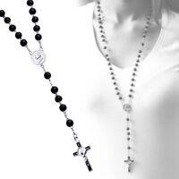 1x Rosenkranz Holz Kreuz Jesus Perlen Halskette Perlenkette Gebetskette Schwarz