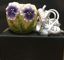 Flowers Of Light Marble Votive Lamp Purple Pansies New