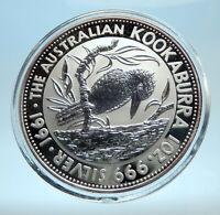 1991 AUSTRALIA Kookaburra Bird Tree 1 oz Silver 1 Dollar Australian Coin i77561