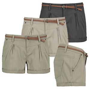 Fresh Made  Damen Shorts Bermuda Kurze Hose Short Stoff Hotpants Chino Sommer