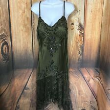 Sue Wong Nocturne Dress Size 14 Embellished 100% Silk Green V Neck Spaghetti