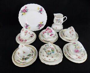 Chloe: Vintage China Shabby Chic 21 Piece Tea Set with Cake Plate, Jug & Bowl