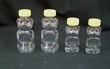 8 or 12 oz Clear PET Plastic Honey Bear Shape Bottles w/Caps