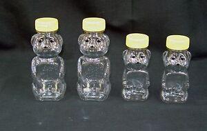 8 or 12 oz Clear PET Plastic Honey Bear Shape Bottles w/Caps