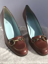 NEW Coach Aubry Brown Leather Loafer Pump Heel Pumps Made in Italy Size 8.5 M