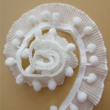 DF07 Blanc - 50 cm DENTELLE PLISSÉE POMPON * 4 cm * légèrement élastique