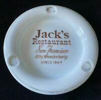 Vintage Jack's Restaurant 100th Anniversary Ashtray 1964 White Ceramic
