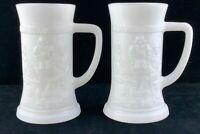 Set of 2 Vintage White Milk Glass Mugs Steins Cups Bar Scene U609