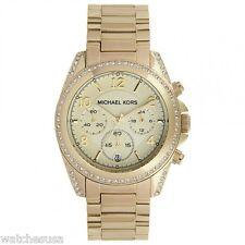 Michael Kors Golden Runway Gold Tone Chronograph Glitz Analog Watch MK5166