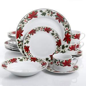 GIBSON 20-pc POINSETTIA HOLIDAY DINNERWARE SET DINNER PLATES CHRISTMAS THEME NEW