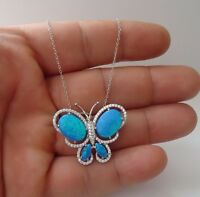 BUTTERFLY  NECKLACE PENDANT W/ 11 CT BLUE OPAL & ACCENTS /925 STERLING SILVER