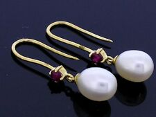 E60/62 Genuine 18ct 18K SOLID Gold NATURAL Ruby & Pearl Drop Earrings