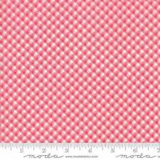 Moda Brenda Riddle Acorn Quilts Fleurs Pinstripe Gingham Fabric Cherry 18635-16