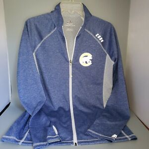 Chicago Cubs Blue Majestic Authentic Therma Base zip front Sz L womans