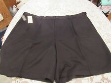 HAGGAR, MEN'S NEW Black Polyester Expandable Waist Pleated Shorts, Size 54W