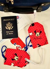 """hand crafted fabric luggage tags set of 2 secure info 3.5"""" X 5.5"""" minnie mouse"""