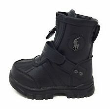 Polo Ralph Lauren Boys Conquered Hi Leather Boot Black Toddler Size 5 M US