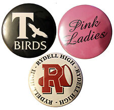 Grease 58mm Badges. fancy dress 3 x badge set. Pink Ladies, T Birds and Rydell.