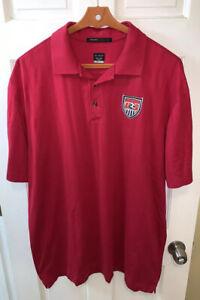 Nike US Soccer USA USMNT Polo Shirt Men XXL 2XL Red Tiger Woods Dri Fit Vintage